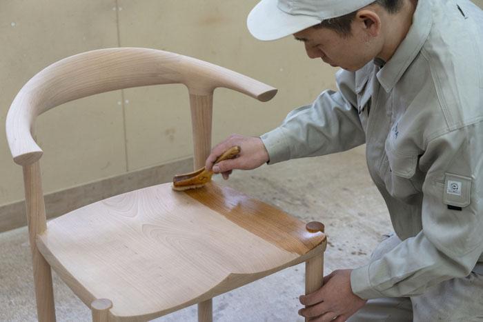 無垢材チェア 塗装 チェリー 無垢材家具