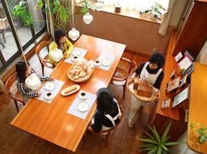 チェリー 無垢材テーブル 無垢材チェア パン教室