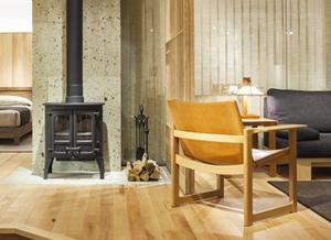 ハードメープル 無垢材ソファ 無垢材チェア 薪ストーブ 無垢材家具