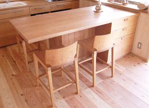 無垢材家具 無垢材キッチン 無垢材カウンターチェア チェリー