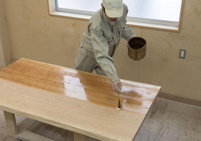 無垢材テーブル オイル塗装