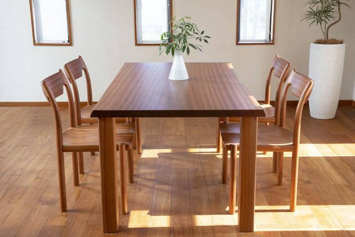 サペリ 無垢材テーブル 無垢材チェア