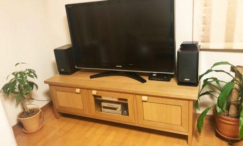 「ナラ材のテレビボードとカウンター下収納の納品事例のご紹介 ~銀座店納品記~」